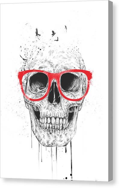Skulls Canvas Print - Skull With Red Glasses by Balazs Solti