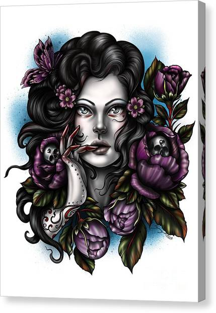 Skulls And Roses Canvas Print