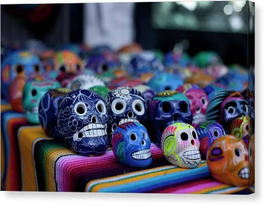 Dia Del Muerto Canvas Print - Skulls by Taylor Maher