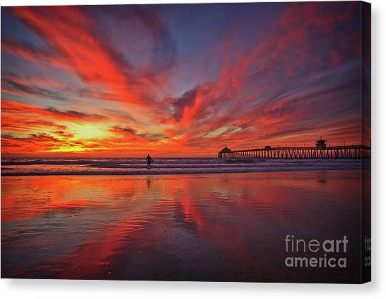 Sky On Fire At The Imperial Beach Pier Canvas Print