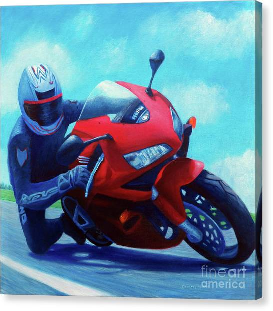 Motorcycle Canvas Print - Sky Pilot - Honda Cbr600 by Brian  Commerford