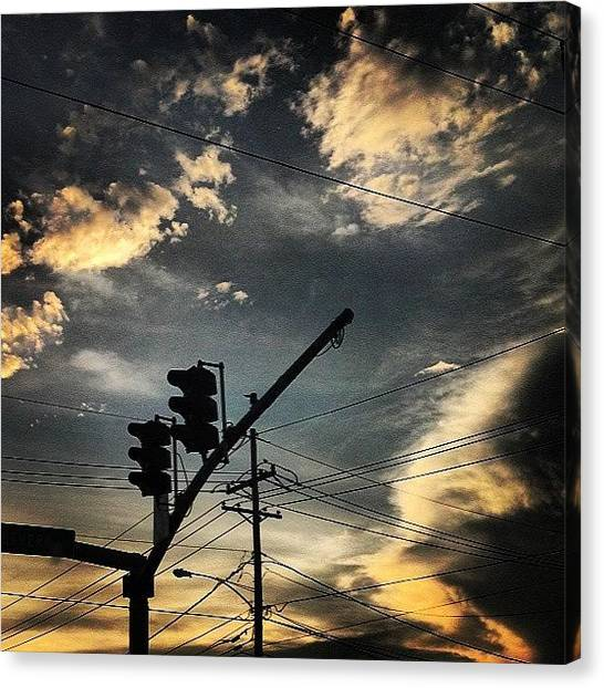 Stoplights Canvas Print - #sky #powerlines #electric #photography by Britt Bassil