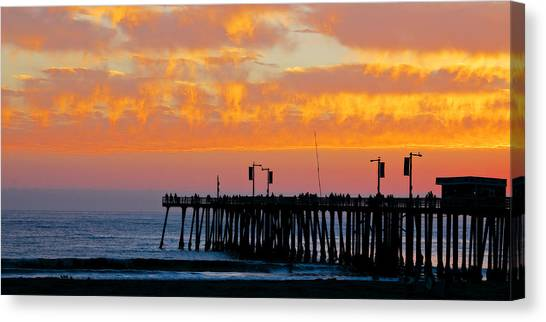 Skyfall At Pismo Beach Pier Canvas Print