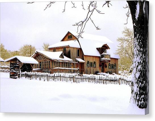 Skyland Farms In Winter Canvas Print