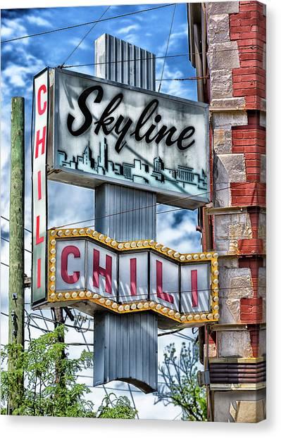 University Of Cincinnati Canvas Print - Skyline Chili #1 by Stephen Stookey