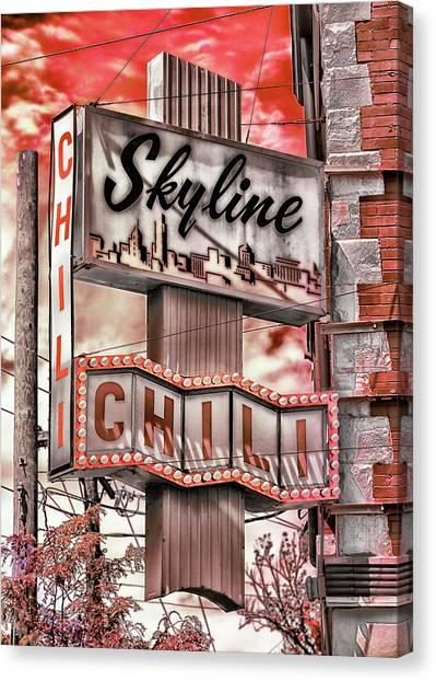 University Of Cincinnati Canvas Print - Skyline Chili #3 by Stephen Stookey