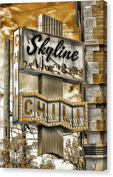 University Of Cincinnati Canvas Print - Skyline Chili #4 by Stephen Stookey
