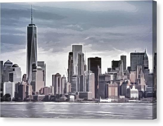 Manhattan Skyline Canvas Print - Skyline Manhattan Gray by Lutz Baar