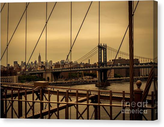Skyline Ny From Brooklyn Bridge Canvas Print