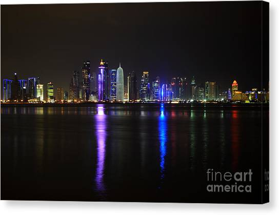 Skyline Of Doha, Qatar At Night Canvas Print