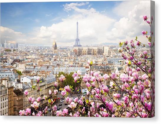 skyline of Paris with eiffel tower Canvas Print