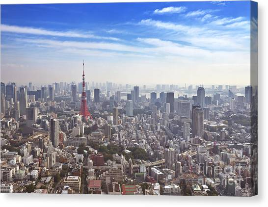 Tokyo Skyline Canvas Print - Skyline Of Tokyo, Japan With The Tokyo Tower, From Above by Sara Winter