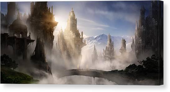 Video Games Canvas Print - Skyrim Fantasy Ruins by Alex Ruiz