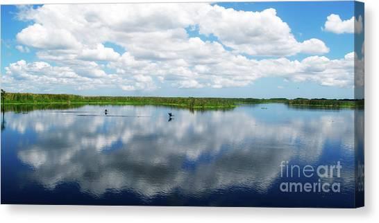 Skyscape Reflections Blue Cypress Marsh Conservation Area Near Vero Beach Florida C2 Canvas Print