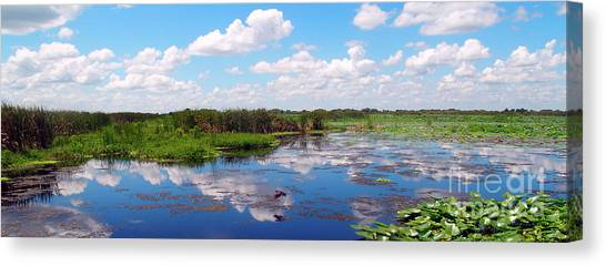 Skyscape Reflections Blue Cypress Marsh Near Vero Beach Florida C5 Canvas Print