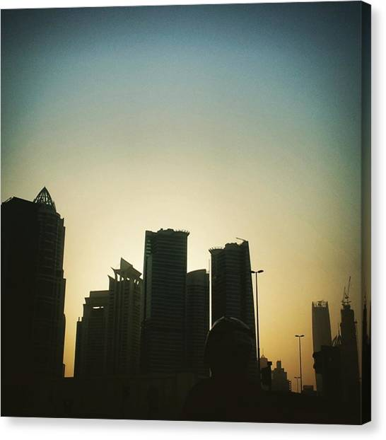 Stoplights Canvas Print - Skyscraped Sunset. #dubai #uae #jlt by Matthew Gilbert