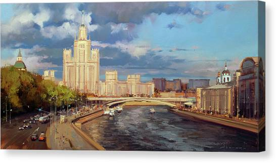 Moscow Canvas Print - Skyscraper On The Kotelnicheskaya Embankment by Alexey Shalaev