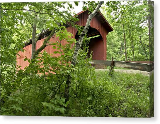Slaughter House Covered Bridge In Northfield Vermont Canvas Print