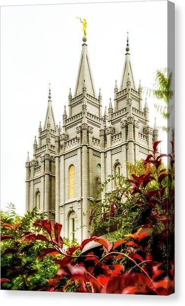 Temple Canvas Print - Slc Temple Angle by La Rae  Roberts