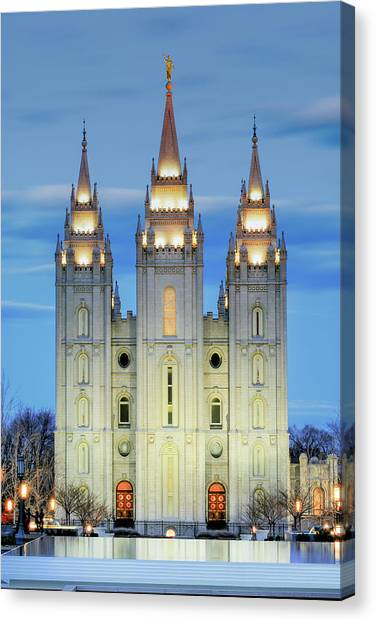 Temple Canvas Print - Slc Temple Blue by La Rae  Roberts