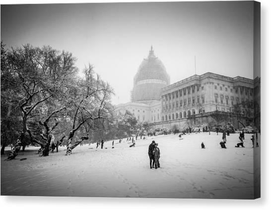 Sledding On Capitol Hill Canvas Print by Robert Davis