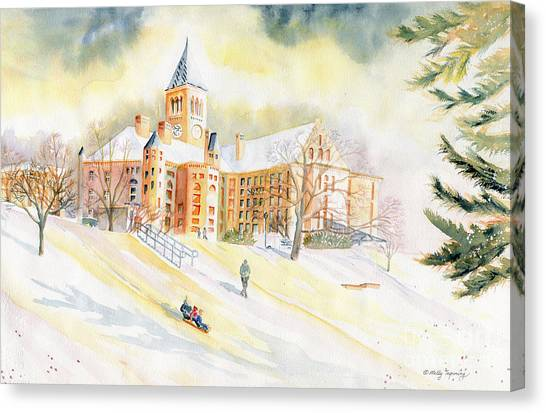Cornell University Canvas Print - Sledding On Libe Slope - Cornell University by Melly Terpening