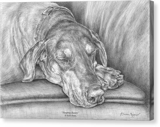 Sleeping Beauty - Doberman Pinscher Dog Art Print Canvas Print