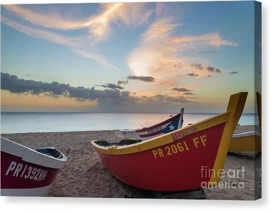 Sleeping Boats On The Beach Canvas Print