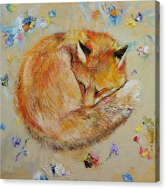 Foxes Canvas Print - Sleeping Fox by Michael Creese
