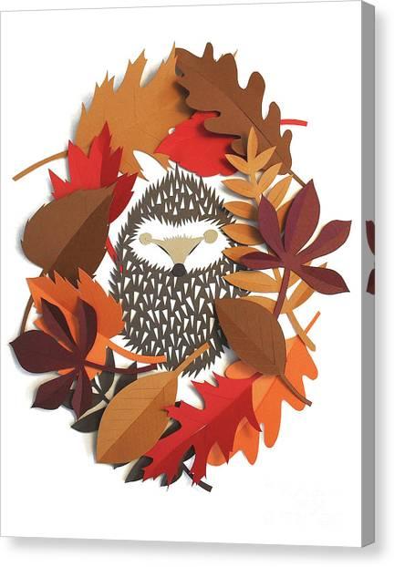 Woodland Canvas Print - Sleeping Hedgehog by Isobel Barber