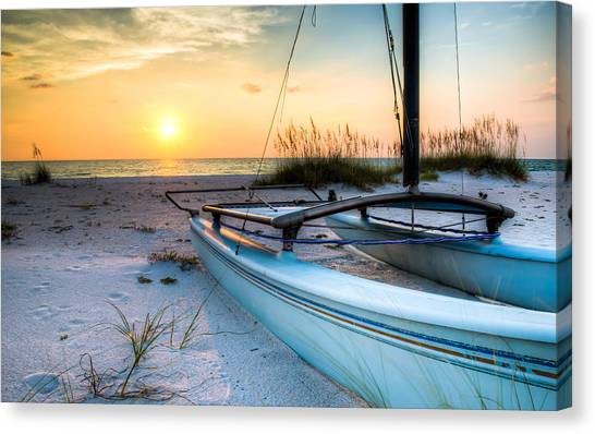 Catamarans Canvas Print - Sleeping Sailboat by Clay Townsend