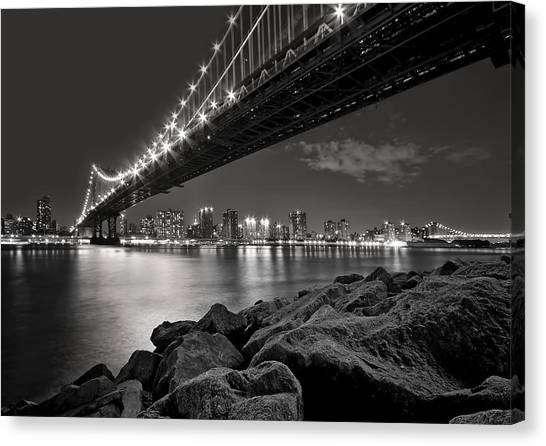 Bridges Canvas Print - Sleepless Nights And City Lights by Evelina Kremsdorf