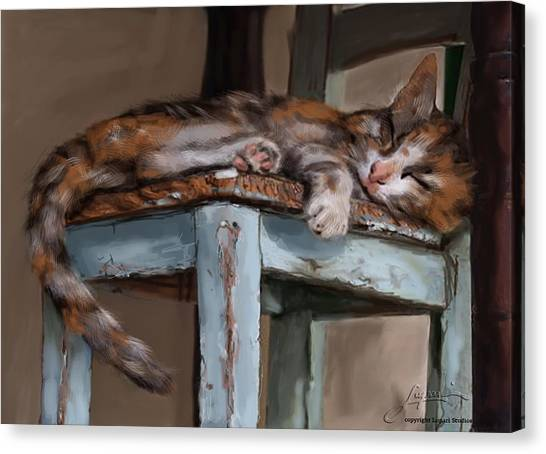 Canvas Print featuring the painting Sleepting Cat by Thomas Lupari