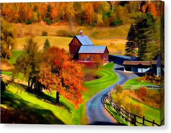 Digital Painting Of Sleepy Hollow Farm Canvas Print