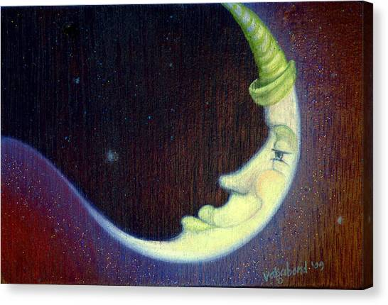 Sleepy Moon Canvas Print
