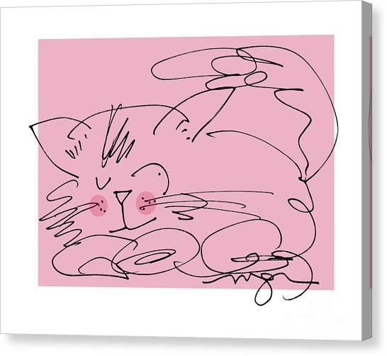 Sleepy Pink Cat Canvas Print