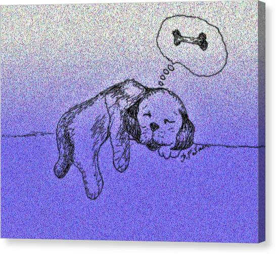 Sleepy Puppy Dreams Canvas Print