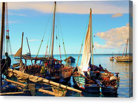 Sleepy Sail Boats Zanzibar Canvas Print