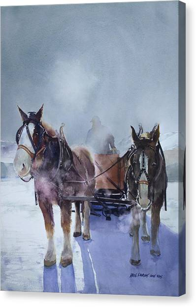 Draft Horses Canvas Print - Sleigh Ride by Kris Parins