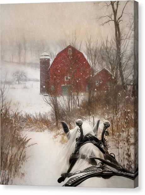 Winter Scenery Canvas Print - Sleigh Ride by Lori Deiter