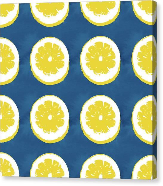 Kitchen Decor Canvas Print - Sliced Lemons On Blue- Art By Linda Woods by Linda Woods