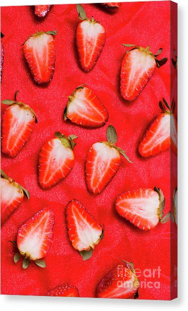 Strawberry Canvas Print - Sliced Red Strawberry Background by Jorgo Photography - Wall Art Gallery