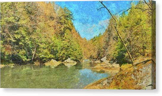 Canvas Print featuring the digital art Slippery Rock Creek by Digital Photographic Arts