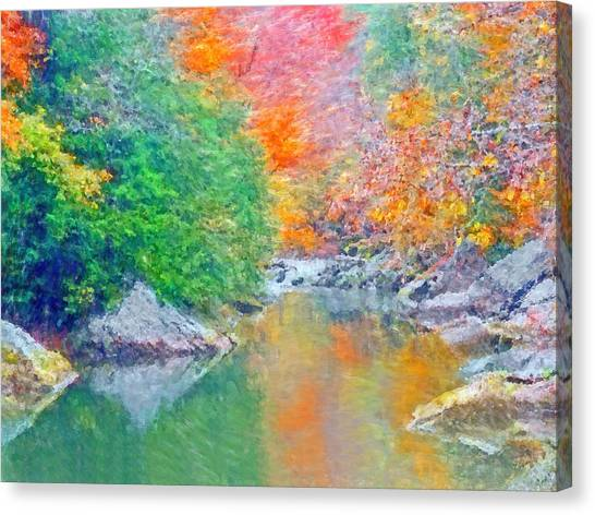 Canvas Print featuring the digital art Slippery Rock Creek In Autumn by Digital Photographic Arts