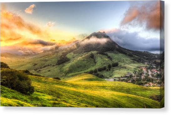 Cal Poly Canvas Print - Slo City Sunset by Bill Rumbler