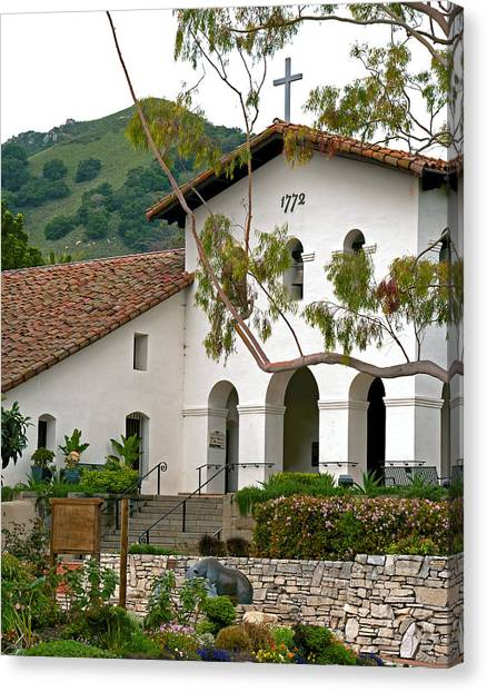 Cal Poly Canvas Print - Slo Morning At The Mission, San Luis Obispo, California by Denise Strahm