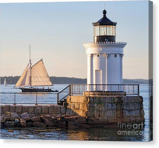 Sloop And Lighthouse, South Portland, Maine  -56170 Canvas Print