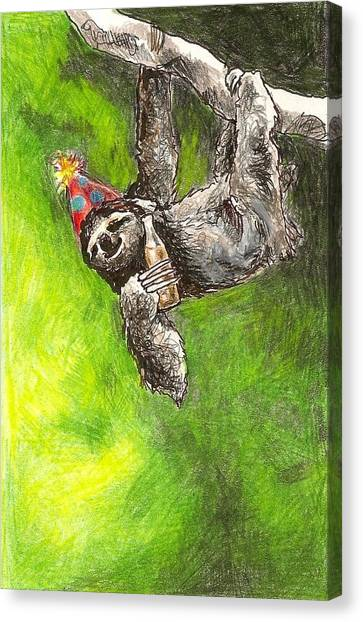 Kristen Bell Canvas Print - Sloth Birthday Party by Steve Asbell