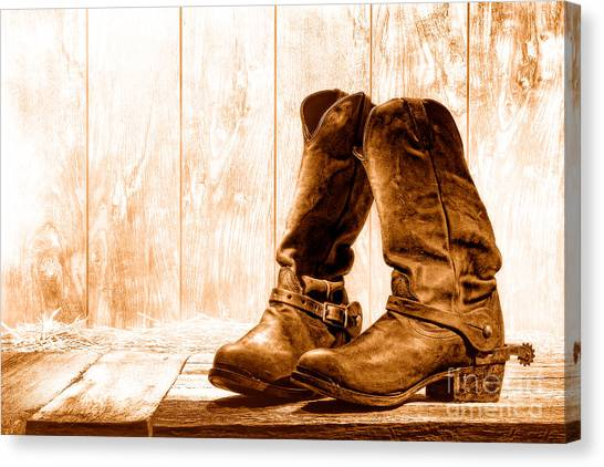 Cowboy Boots Canvas Print - Slouch Cowboy Boots - Sepia by Olivier Le Queinec