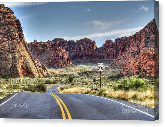 Slow Down In Snow Canyon Canvas Print